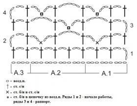 Шарф с узором звезды - Схема 1