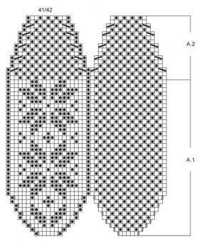 Тапочки спицами со снежинкой - Схема 3