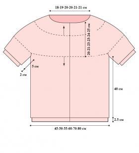 Женская кофта с круглой кокеткой спицами и коротким рукавом - Выкройка 1