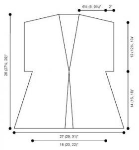 Вязаная туника спицами с коротким рукавом - Выкройка 1