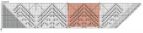 Треугольная шаль с ажурными ромбами - Схема 2