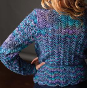 Ажурный свитер с поясом - Фото 1