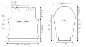 Водолазка спицами рельефным узором - Выкройка 1