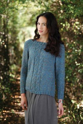 Пуловер реглан спицами из твидовой пряжи