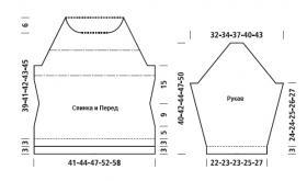 Свитер реглан с теневым узором - Выкройка 1
