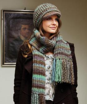 Кепка и шарф пышной резинкой