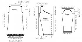 Стильный кардиган спицами с глубоким вырезом - Выкройка 1