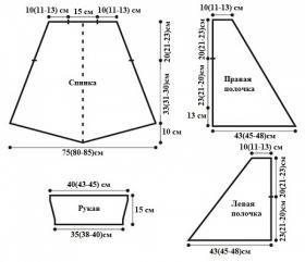 Асимметричный коричневый кардиган - Выкройка 1