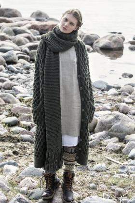 Пальто узором соты с карманами