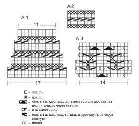 Чулки спицами с ажурными листьями - Схема 1