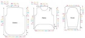 Пуловер спицами с асимметричным низом - Выкройка 1