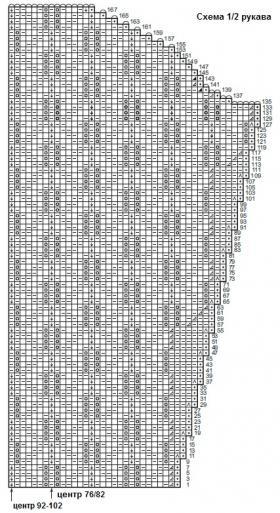 Кардиган с ажурным узором листья - Схема 2