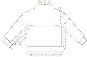Свитер с круглой цветной жаккардовой кокеткой - Выкройка 1