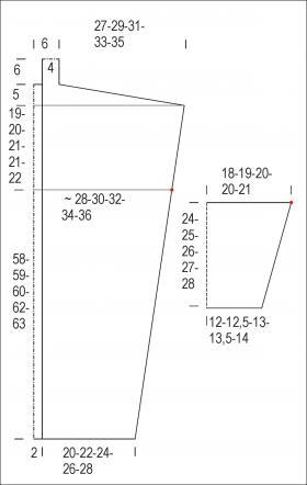 Длинный кардиган узором рис - Выкройка 1