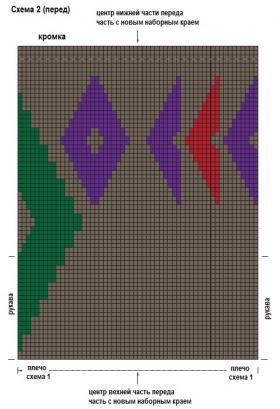 Длинный жилет с интарсией - Схема 2