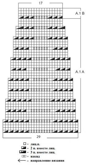 Ажурный жакет спицами без застежки - Схема 1