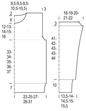 Джемпер с ажурным узором и рельефной резинкой - Выкройка 1
