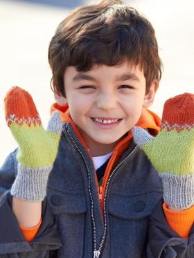 Детские разноцветные варежки - Фото 1