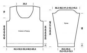 Пуловер с округлым вырезом и ажурным узором - Выкройка 1