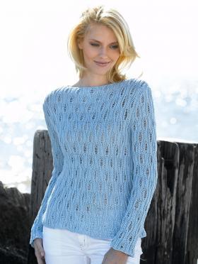 Ажурный пуловер с воротником лодочка