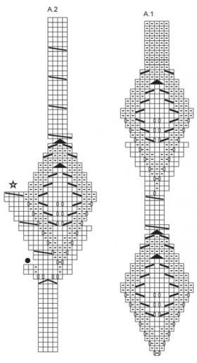 Берет и снуд с ажурными листьями - Схема 1