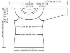 Джемпер спицами с круглой кокеткой и цветным узором - Выкройка 1