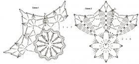 Пять кружевных снежинок крючком - Схема 1