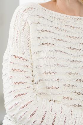 Текстурный свитер со снятыми петлями из двух видов пряжи - Фото 1