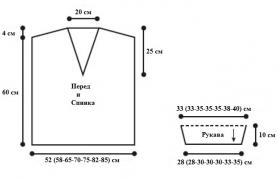 Ажурный пуловер с V-образным вырезом - Выкройка 1