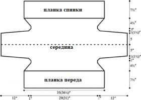 Шраг спицами с рельефным краем - Выкройка 1