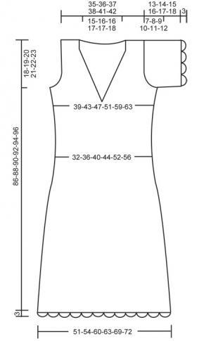 Платье спицами с ажурной отделкой и V-образным вырезом - Выкройка 1