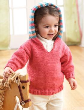 Кофта спицами с капюшоном для детей