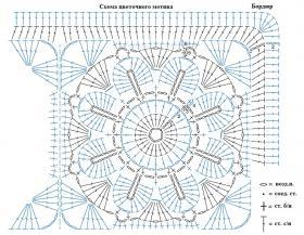 Цветное покрывало из мотивов крючком - Схема 1