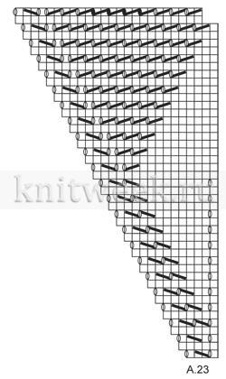 Легкая шаль с ажурными листьями - Схема 5