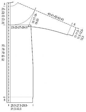 Длинный кардиган с круглой кокеткой и ажурным узором - Выкройка 1