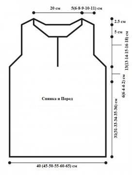 Топ с V-образным вырезом и орнаментом - Выкройка 1