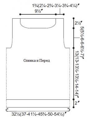 Ажурный свитер спицами с шевронами - Выкройка 1