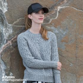Пуловер с круглым воротником и рельефными узорами - Фото 2