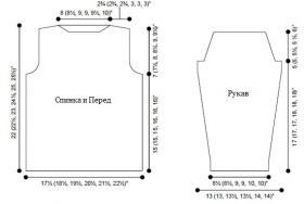 Свитер спицами с узором из жгутов - Выкройка 1