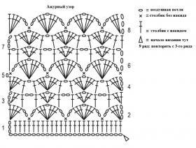 Ажурный пуловер крючком с коротким рукавом - Схема 1