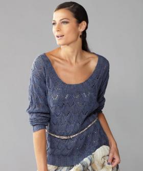 Пуловер с округлым вырезом и ажурным узором