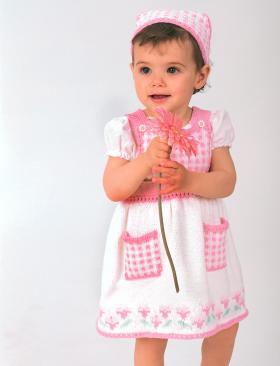 Детская косынка и платье спицами