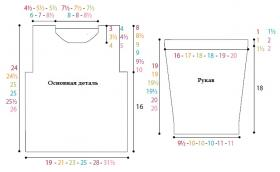 Пуловер платочной вязкой с веерным узором в центре - Выкройка 1