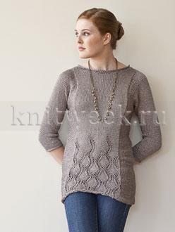 Приталенный пуловер с ажурным узором