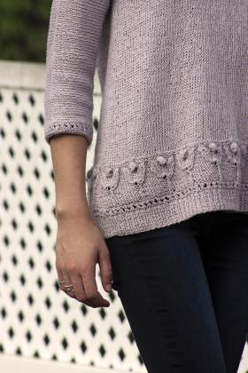 Пуловер с узором тюльпаны - Фото 1