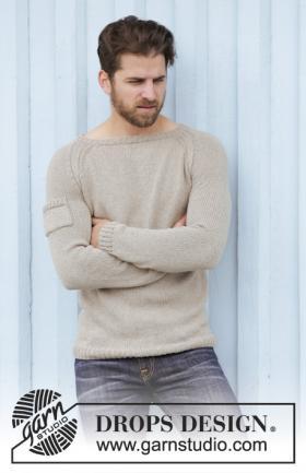 Мужской пуловер реглан с широким вырезом горловины