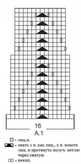 Топ спицами с квадратным вырезом горловины - Схема 1