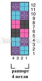 Шапка с цветным узором шахматы - Схема 1