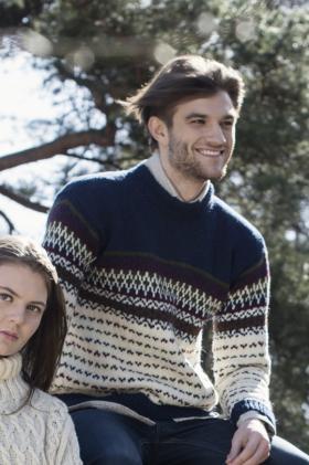 Мужской пуловер с мелким жаккардом