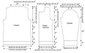 Кардиган спицами на пуговицах со жгутами - Выкройка 1